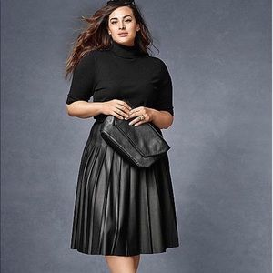 Lane Bryant faux leather pleated skirt